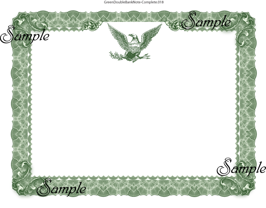 Green Bank Note Certificates Certificate Designs in VECTOR – Blank Certificate Format